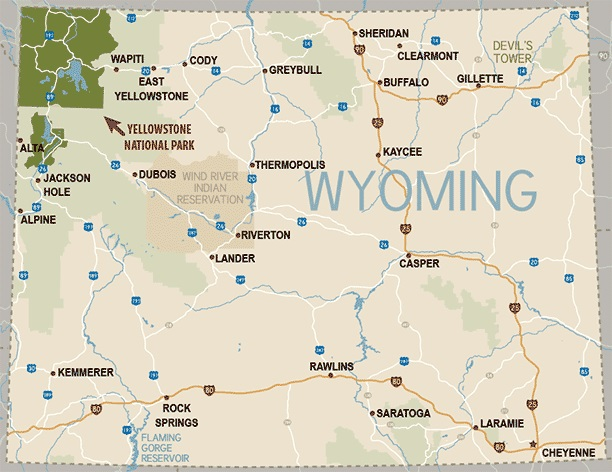Welcome To The Wyoming In Motion Web Magazine Wyoming In Motion - Wyoming map with cities