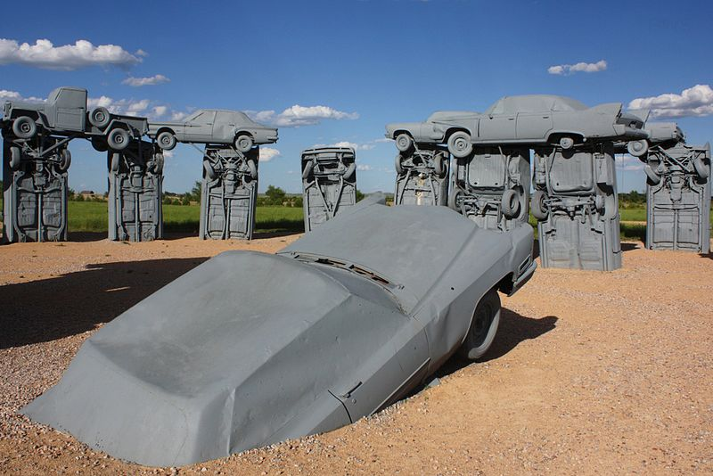 Grey painted cars at Carhenge are a replica of Stonehenge