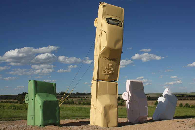 A car sculpture located at Carhenge