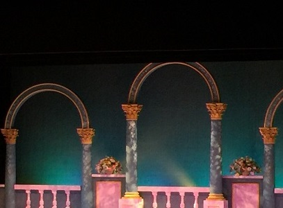 A glimpse of the stage for The Slipper and the Rose