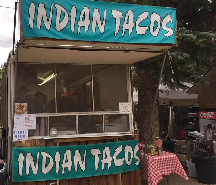 Indian Tacos booth. Food made and served by fair workers, not Native Americans