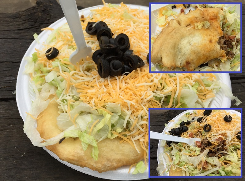 Indian taco - meat and beans buried under lettuce, cheese and black olives