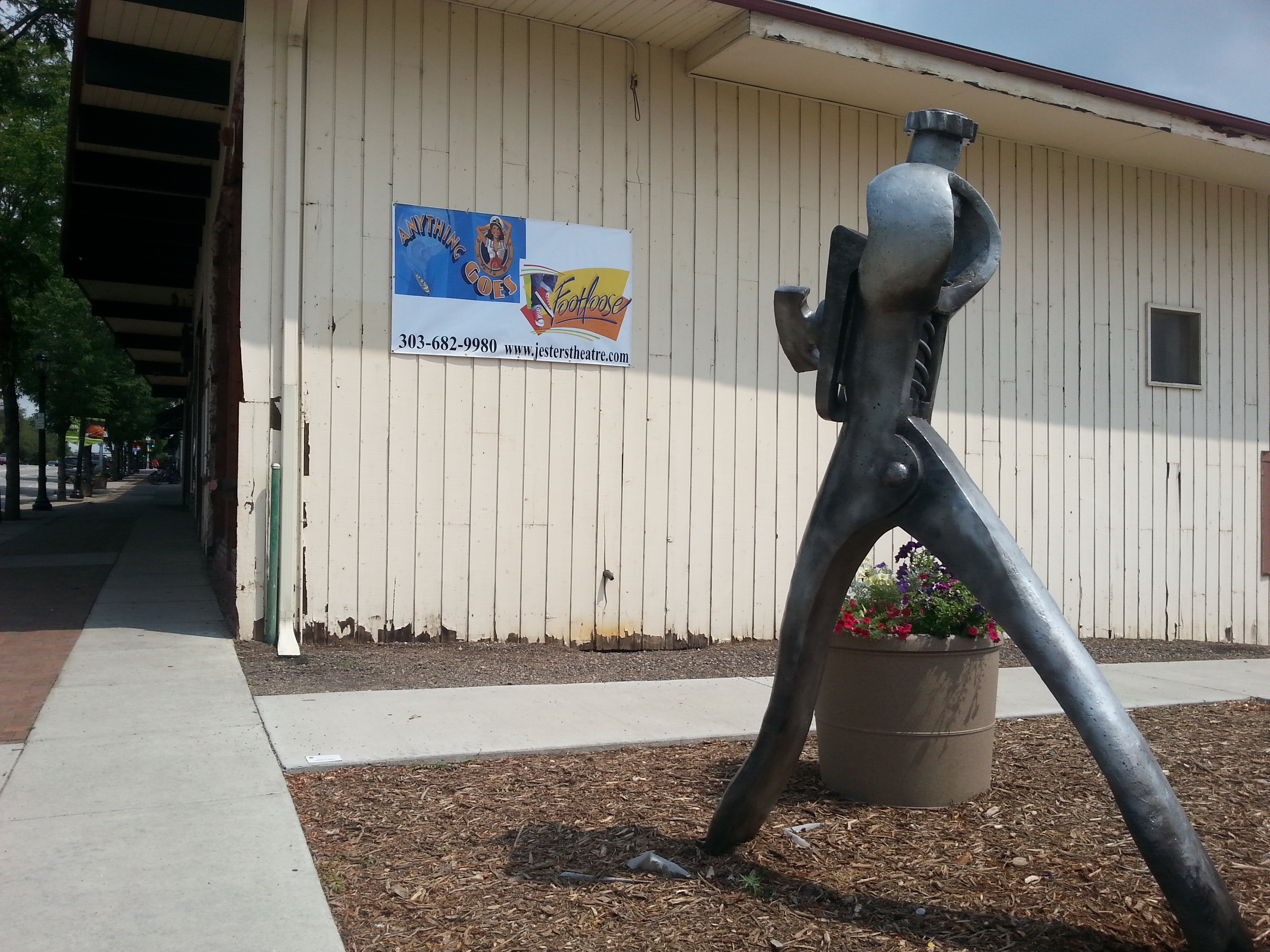 Sculpture in Jesters parking lot, adjacent to theatre