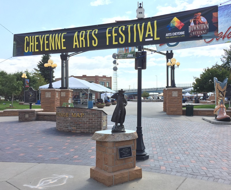Cheyenne Arts Festival Banner leading to the Depot Plaza