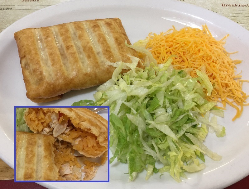 Chicken and rice chimichanga without sauche. Inset - the chimichanga cut in half