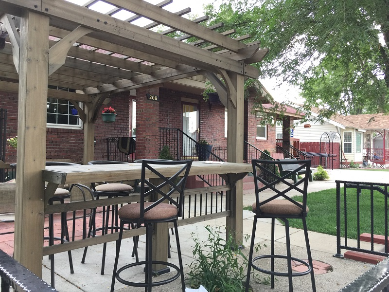 Pleasant outdoors patio in warm weather
