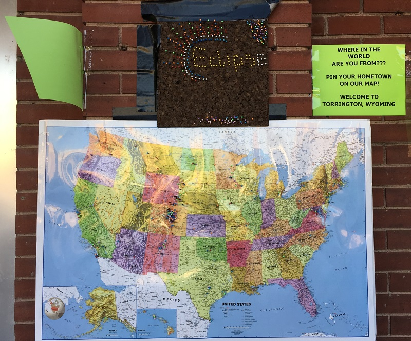 A US map and a world map were on display. People could place pins near their home town