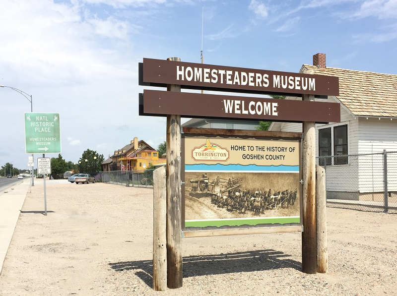 Sign for the Homesteaders Museum, in the historic Torrington Union Pacific Depot.