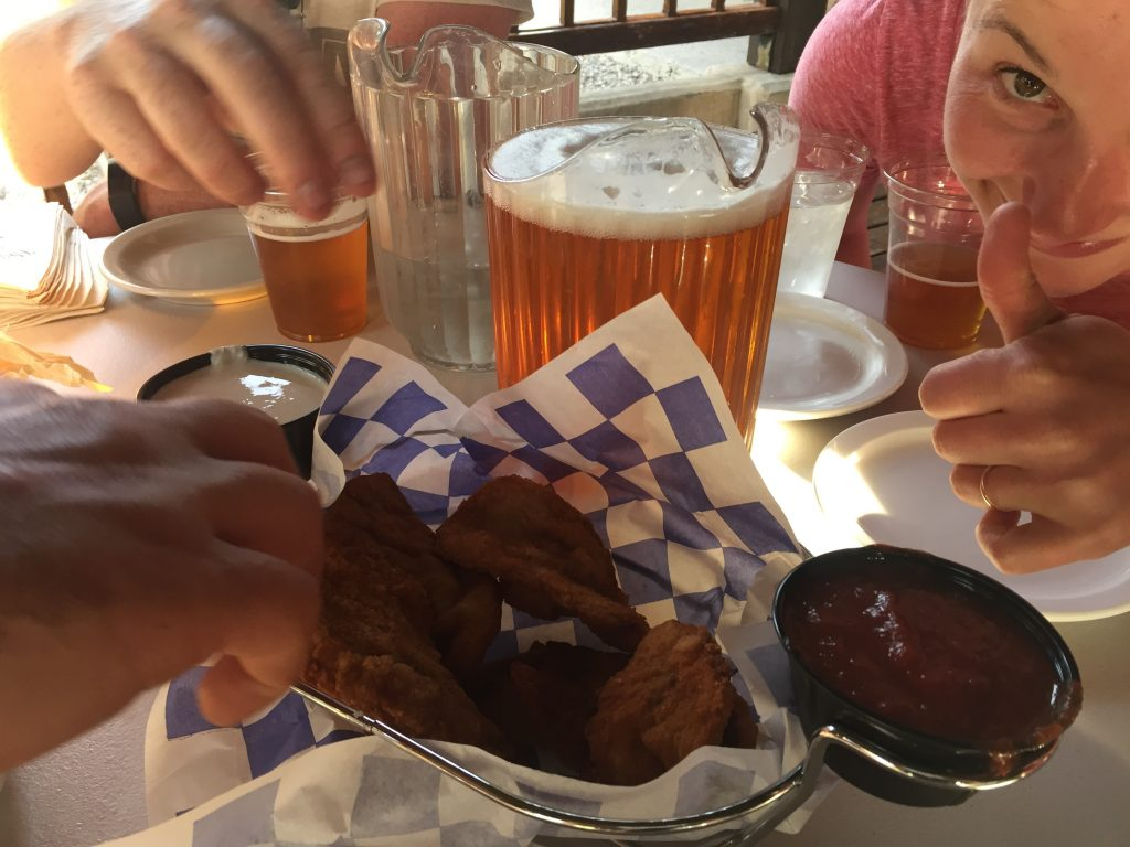 We're SO happy we're off the mountain that we ordered beer AND Rocky Mountain oysters!