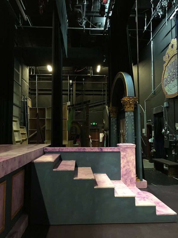 A view into the wings. On the far right you can see the sign used in the Will Rogers Follies - autographed by the cast