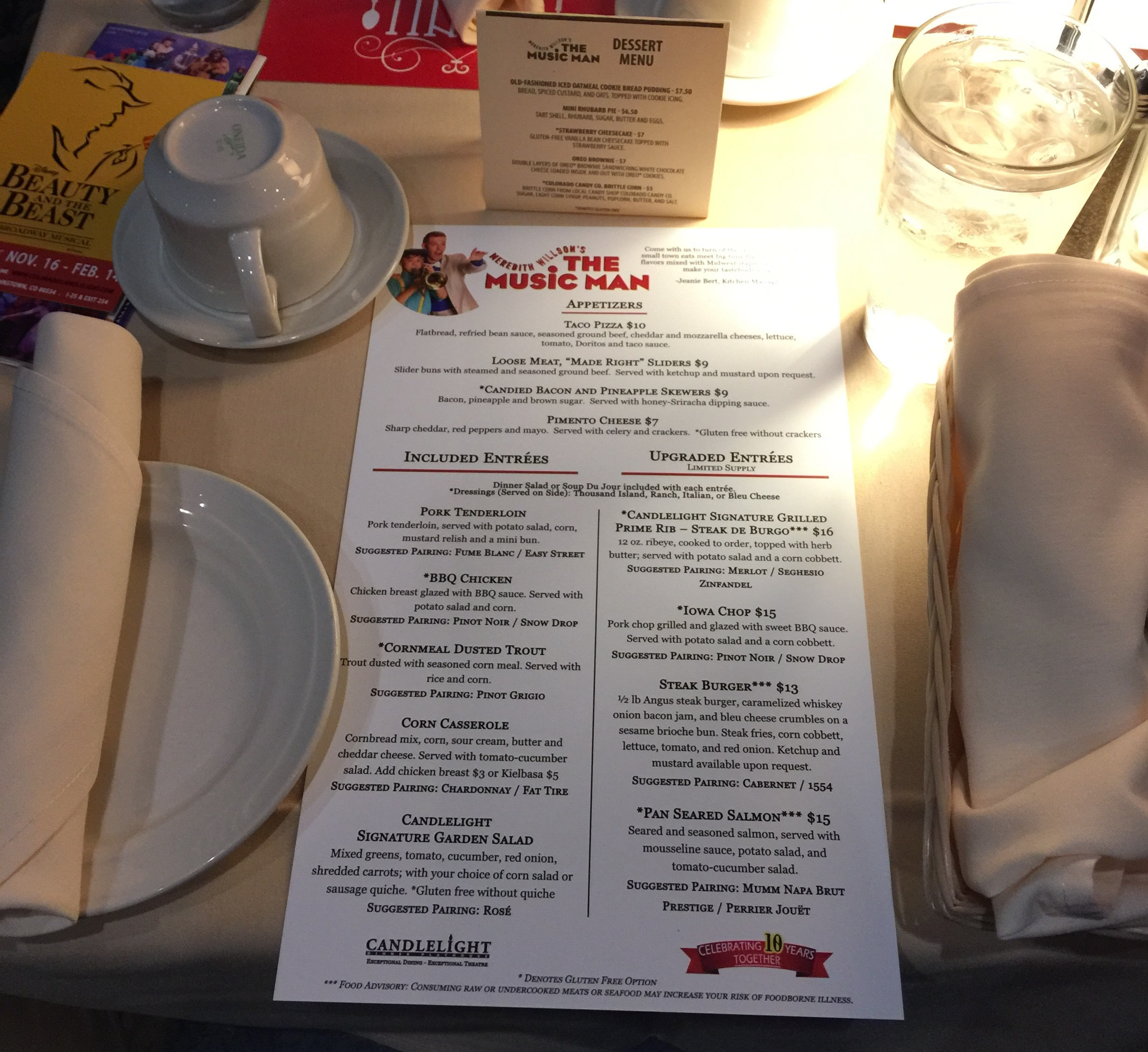The specially-designed menu for The Music Man