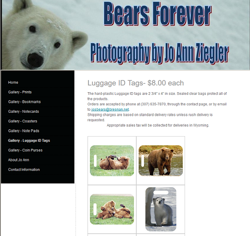 Luggage tag page on Bears Forever, Jo Ann Ziegler photography