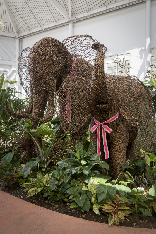 Mother and baby elephant, sculpted of wicker