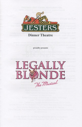 Jesters Dinner Theatre's program for Legally Blonde: The Musical