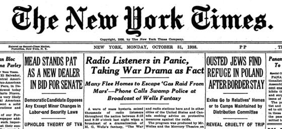 New York Times headline, October 31, 1938