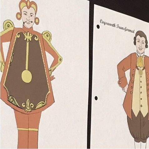 Sketch for Cogsworth costume design