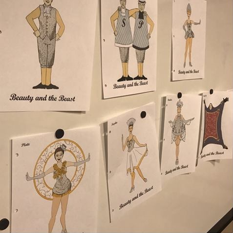 Costume design sketches for Beauty and the Beast