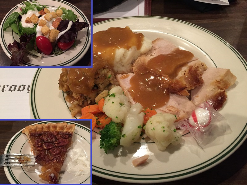 Garden salad rather than soup, turkey and stuffing with masked potatoes and veggies, and pecan pie for desserrt